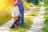 Couple in love with dog — Stock Photo