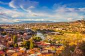 Tbilisi city center over sunset — Stock Photo