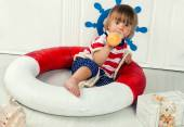 Little boy in life preserver — Stock Photo