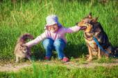 Little girl with dog and cat — Stock Photo