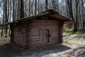 Old Ukrainian wooden house in the summer Pirogovo — Stock Photo