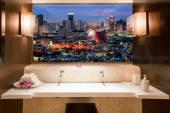 Bangkok cityscape. view through window in room — Stock Photo
