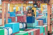 Containers in the port for import export — Stock Photo