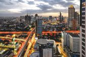 Bangkok Cityscape at twilight with main traffic — Stock Photo