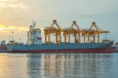 Shipping port with crane for container uploading at dusk — Stock Photo