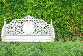 Белый классический стул в саду — Стоковое фото
