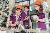 Engineer student turning pipeline pump for trainning in laborato — Stock Photo