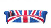 Union jack sofa isolate on white background with clipping path — 图库照片