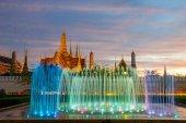 Fontána noční světlo orientační sanam luang, bangkoku, thaila — Stock fotografie