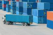 Truck in container depot — Stock Photo