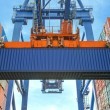 Shore crane loading containers in freight ship — Stock Photo #53684507