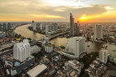 Bangkok cityscape from top view with river — Stock Photo