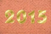 Happy new year 2015 on brick wall pattern — Stock Photo