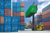 Forklift handling container box loading to truck in import expor — Stock Photo