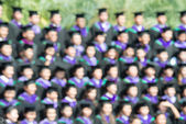 Shot of graduation caps during commencement. The image was blurr — Zdjęcie stockowe