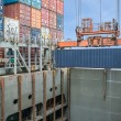 Shore crane loading containers in freight ship — Stock Photo #61521345