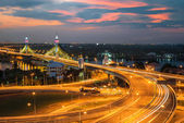 Highway and Suspension bridge in Bangkok ,Thailand — Stock Photo