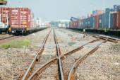 Cargo train platform with freight train container at depot — Stock Photo
