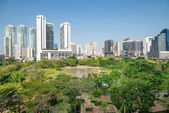 Park in Modern city view of Bangkok, Thailand. Cityscape — Stock Photo