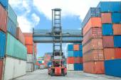 Crane lifter handling container box loading to depot — Stock Photo