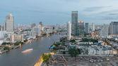 Skyscrapers in City of Bangkok downtown near Chao phraya river — Stock Photo
