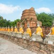 Aligned buddha statues with orange bands in Ayutthaya, Thailand — Stock Photo #66024829
