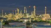 Panorama of Oil refinery and storage tanks at twilight — Stock Photo