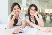 Two Asian students studying together at university — Foto Stock