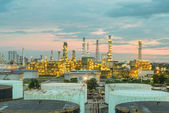 Oil refinery at dramatic twilight in Thailand — Stock Photo