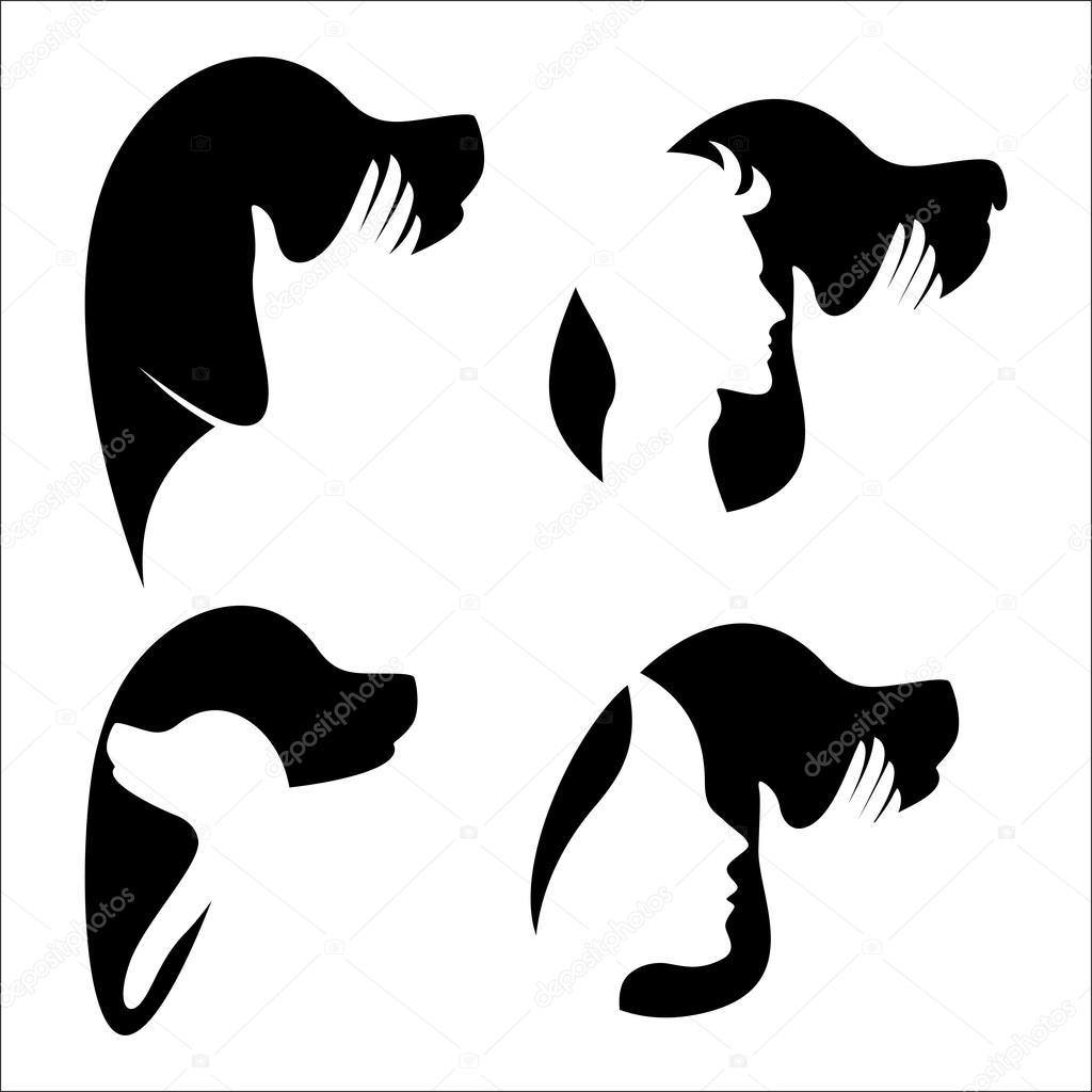 an example of a dog and a man logo stock vector copy valentin1982 an example of a dog and a man logo stock illustration
