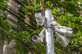 Multiple Angle Outdoor CCTV Camera on the Pole — Stock Photo