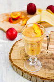 Nectarine banana smoothie, selective focus — Stock Photo