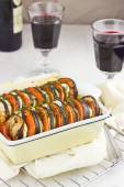 Ratatouille. French vegetable gratin from Provence and red wine, selective focus — Stock Photo