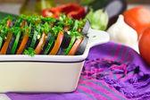 Preparing vegetable ratatouille gratin, selective focus — Stock Photo