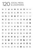120 Social icons, white & black — Stock Vector