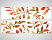 Modelo de padrão de folha aquarela Outono vector — Vetor de Stock