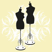 Vector vintage tailors mannequin with size measurements — Stock Vector