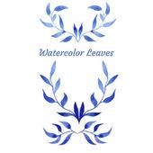 Vector blue gzhel watercolor leaf pattern template — Cтоковый вектор