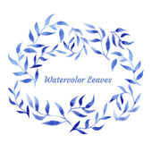 Vector blue gzhel watercolor leaf pattern template — Stockvector