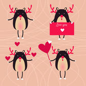 Vector cure deer with romantic hearts. colorful backdrop — Stockvektor