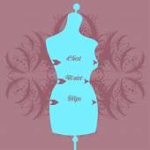 Vector vintage tailors mannequin — Stock Vector