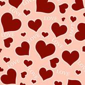 Rote herzen und liebe wortlaut. — Stockfoto
