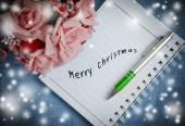Merry Christmas on diary ring binder — Stock Photo