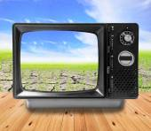 TV vintage and Agriculture paddy field  — Stock Photo