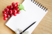 Pod drobnohledem dřevěné pozadí červené hroznové víno a prázdné bílé deník. — Stock fotografie
