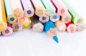 Focus at blue colored pencil with many colored pencil. — Stock Photo