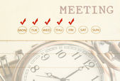Meeting date on diary. — Stock Photo