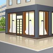 Shop window with wedding dresses — Stock Vector