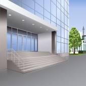 Merdiven ve lambalar ile bina giriş — Stok Vektör
