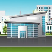 Office building with reflection on the street background — Vector de stock